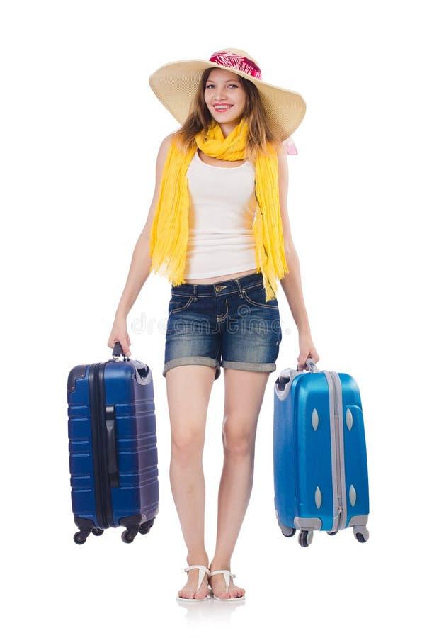Mujer que va a las vacaciones de verano fotos de archivo libres de regalías