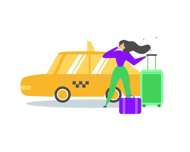 Mujer que viaja que llama vector del plano de servicio del taxi ilustración del vector