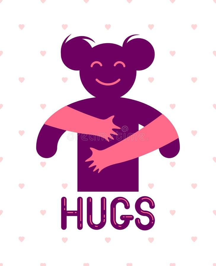 Mujer querida con las manos del cuidado de un amante o de un amigo que la abraza alrededor de detrás logotipo, del vector del ico libre illustration