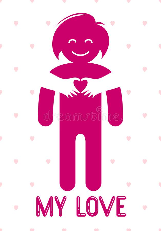 Mujer querida con las manos del cuidado de un amante o de un amigo que la abraza alrededor de detr?s logotipo, del vector del ico stock de ilustración