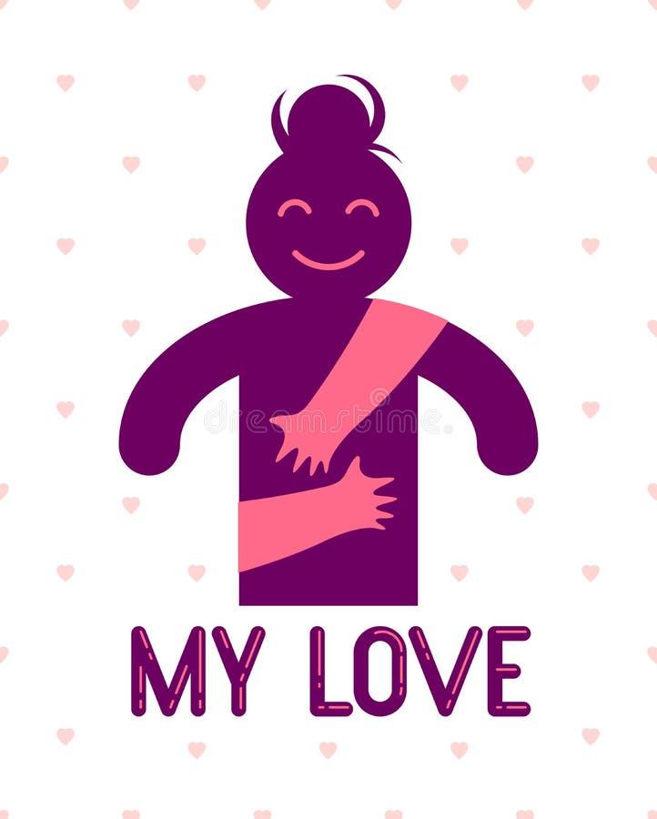 Mujer querida con las manos del cuidado de un amante o de un amigo que la abraza alrededor de detr?s logotipo, del vector del ico libre illustration