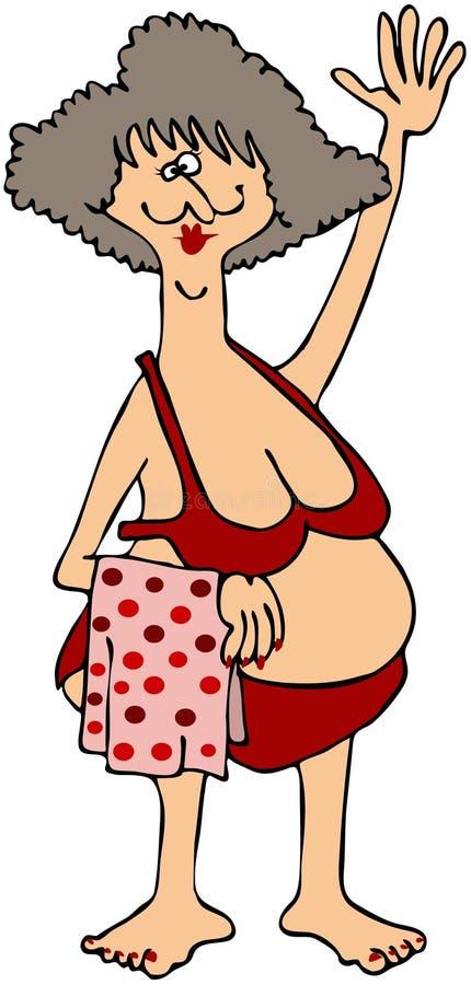 Mujer rechoncha en un bikiní rojo stock de ilustración