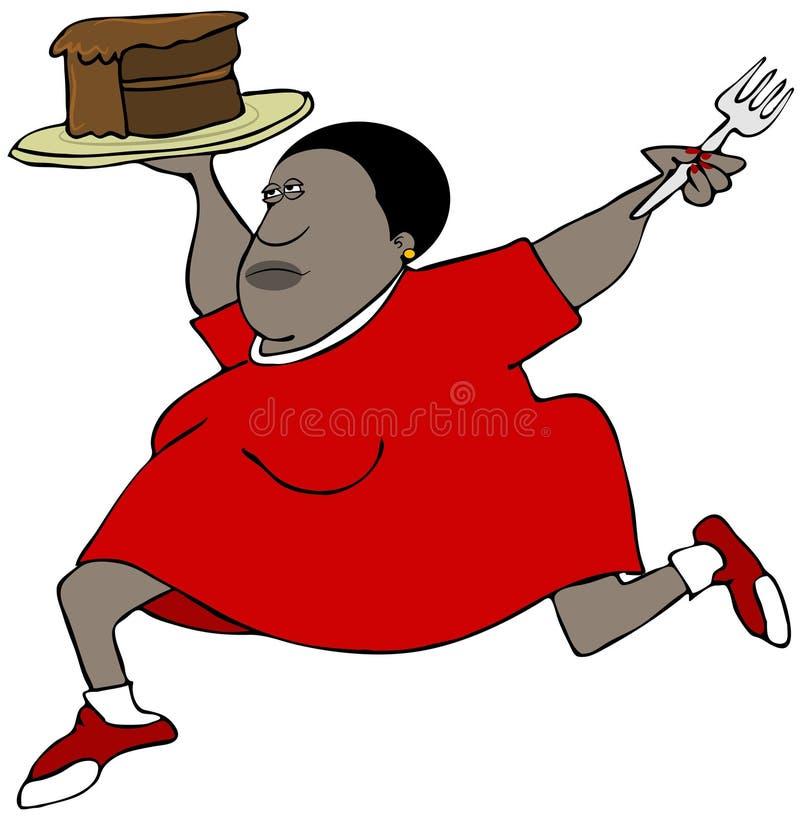 Mujer rechoncha que corre con un pedazo de torta de chocolate ilustración del vector