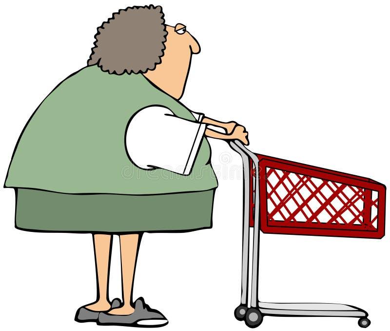 Mujer rechoncha que empuja un carro de la compra rojo stock de ilustración