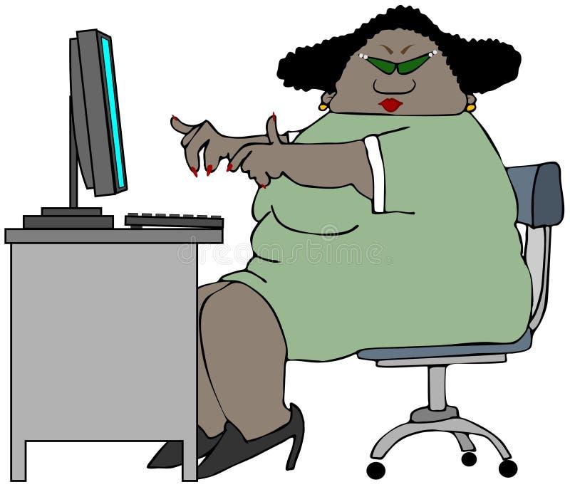 Mujer rechoncha que se sienta en un escritorio ilustración del vector