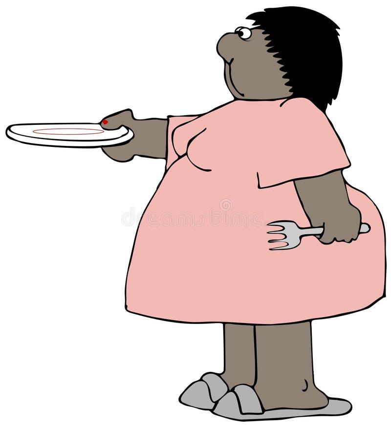Mujer rechoncha que sostiene hacia fuera una placa vacía libre illustration