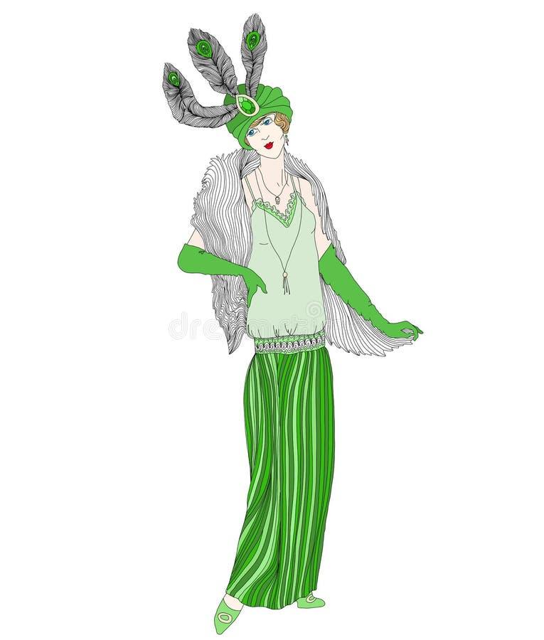 Mujer retra hermosa del estilo Ilustración del vector Muchacha del vintage con las plumas en su sombrero Colorante antiesfuerzo a stock de ilustración