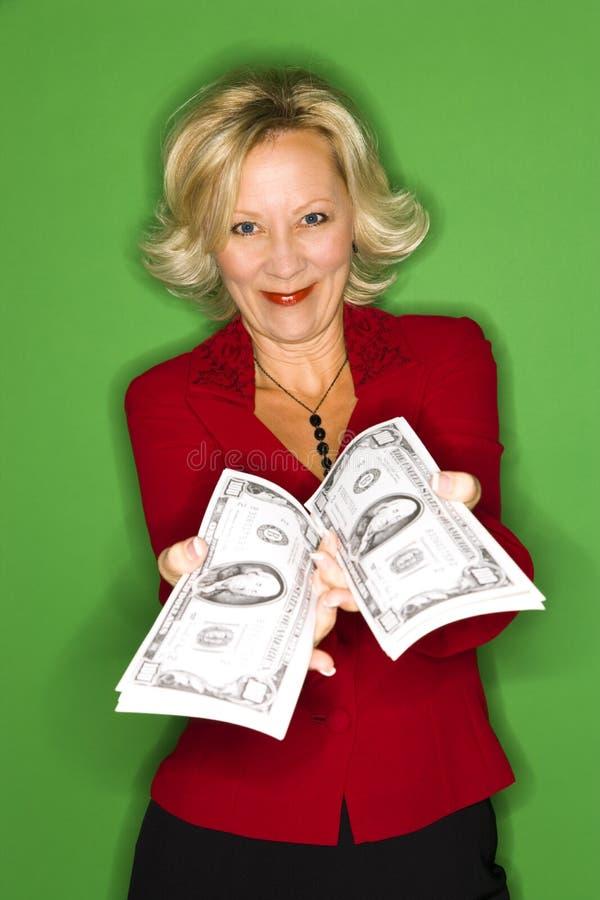 Mujer rica feliz fotos de archivo