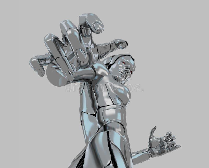 Mujer robótica líquida stock de ilustración