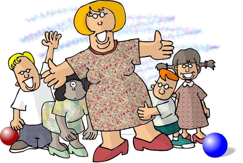 Mujer rodeada por los pequeños niños ilustración del vector