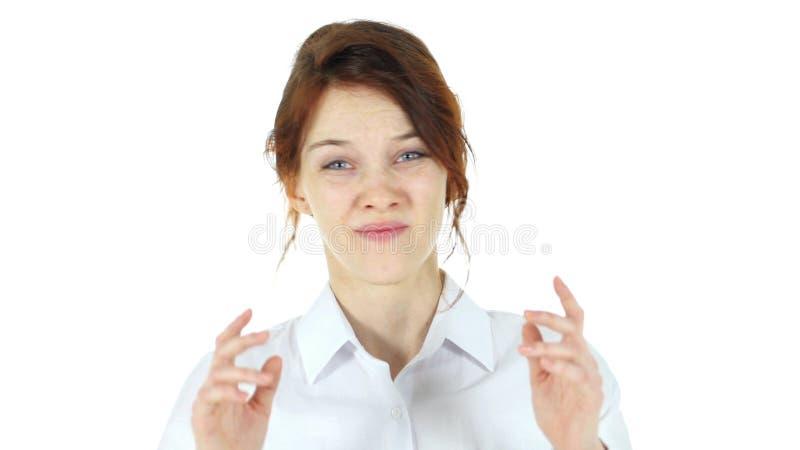 Mujer roja enojada del pelo, fondo blanco imágenes de archivo libres de regalías
