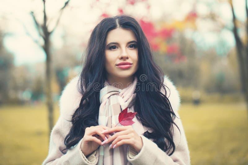 Mujer romántica del otoño al aire libre fotos de archivo
