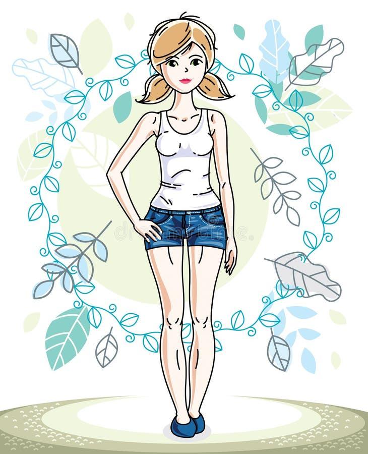 Mujer rubia bastante joven feliz que se coloca en el fondo del paisaje de la primavera y de la ropa casual de moda que lleva Vect stock de ilustración