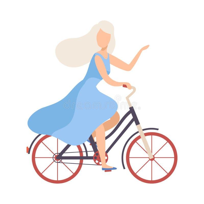 Mujer rubia en bicicleta azul clara del montar a caballo del vestido, muchacha de ciclo que relaja o que va a trabajar el ejemplo stock de ilustración