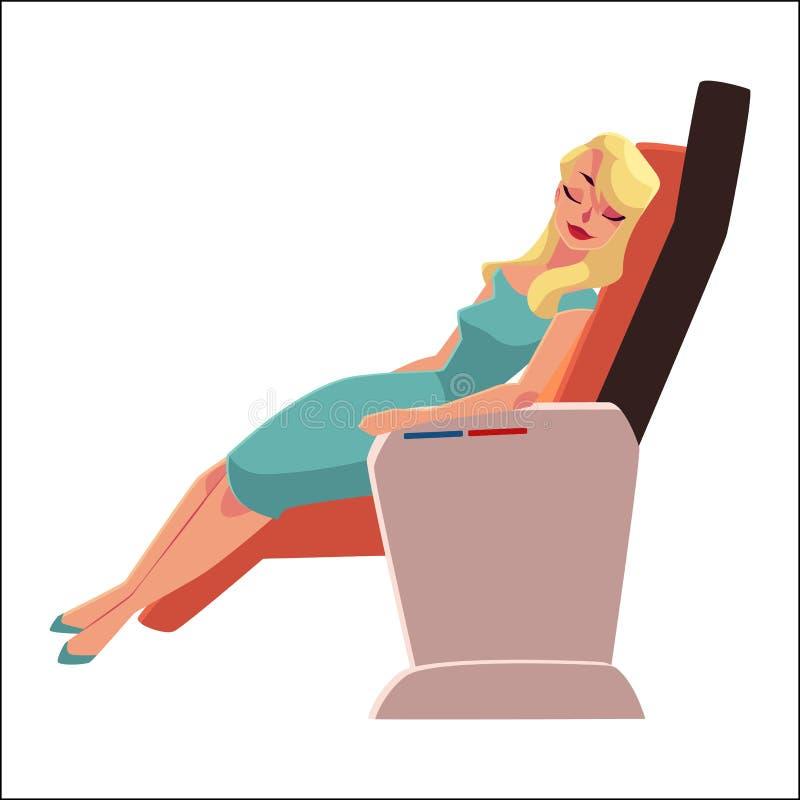 Mujer rubia hermosa que duerme en asiento de la clase de negocios del aeroplano ilustración del vector