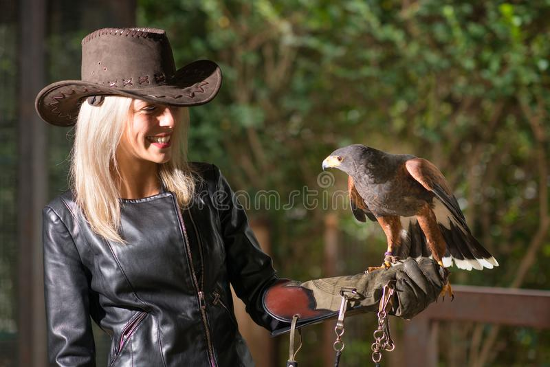 Mujer rubia hermosa que sostiene un halcón de harris en un glo protector imagen de archivo libre de regalías