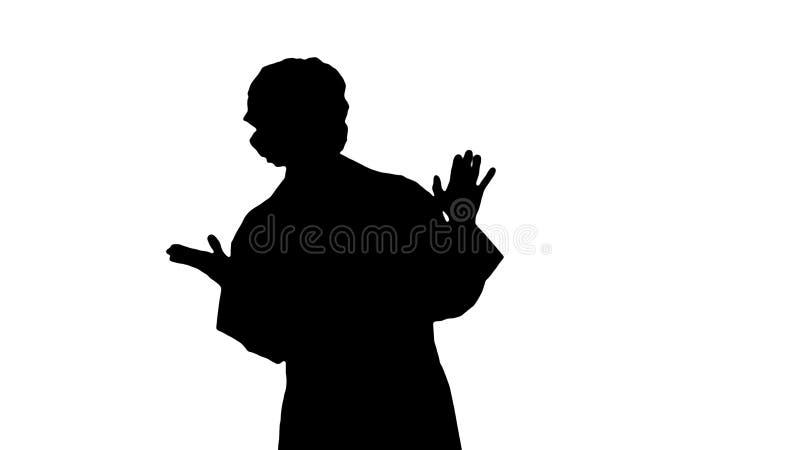 Mujer rubia joven del doctor del friki de la silueta que habla con la cámara ilustración del vector