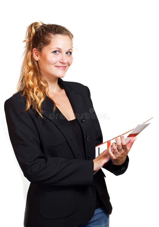Mujer rubia joven en desgaste del negocio fotos de archivo libres de regalías