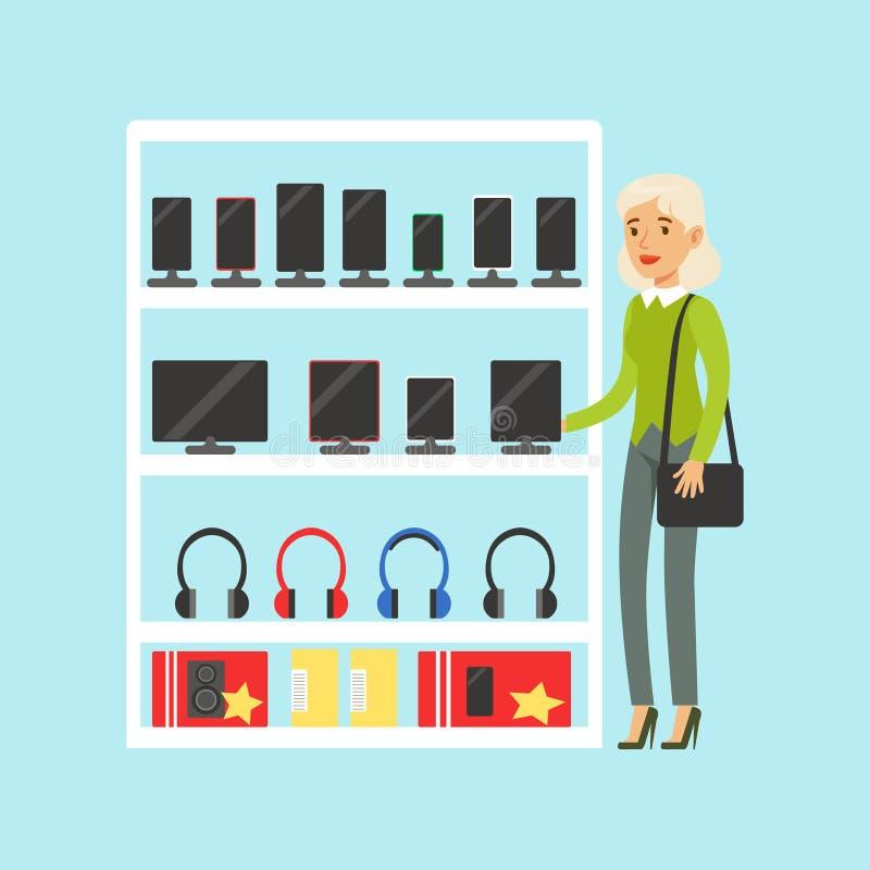Mujer rubia joven que elige la tableta digital en el ejemplo colorido del vector de la tienda de dispositivo stock de ilustración