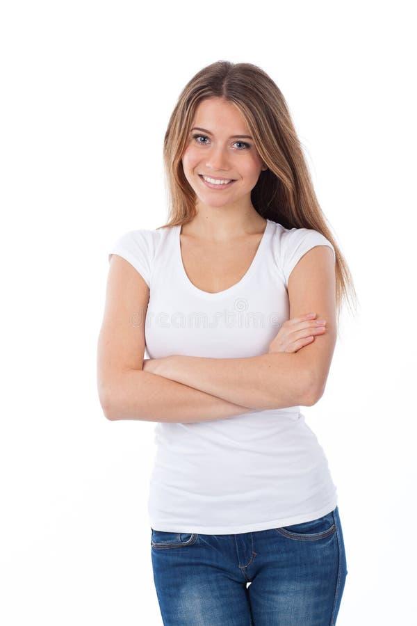 Mujer rubia sonriente de los jóvenes imágenes de archivo libres de regalías