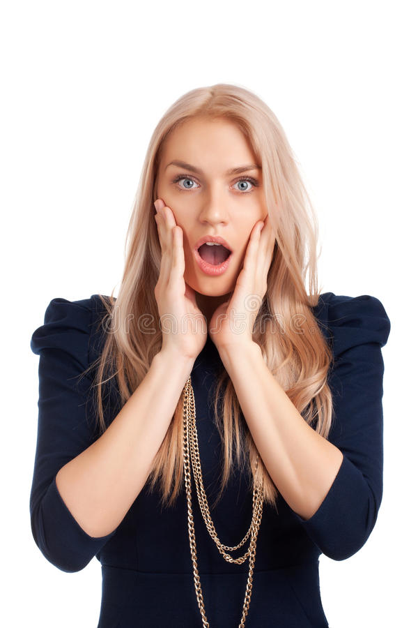 Mujer rubia sorprendida foto de archivo libre de regalías