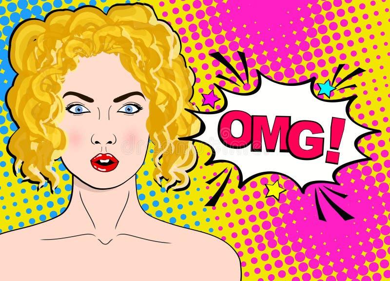 Mujer rubia sorprendida atractiva del arte pop con los ojos y boca y palabras abiertos de par en par OMG stock de ilustración