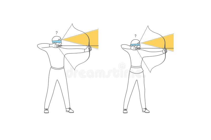 Mujer s, intuición del hombre s Sistema plano del diseño de la intuición, penetración, anticipación, opción Símbolo intuitivo Fin ilustración del vector