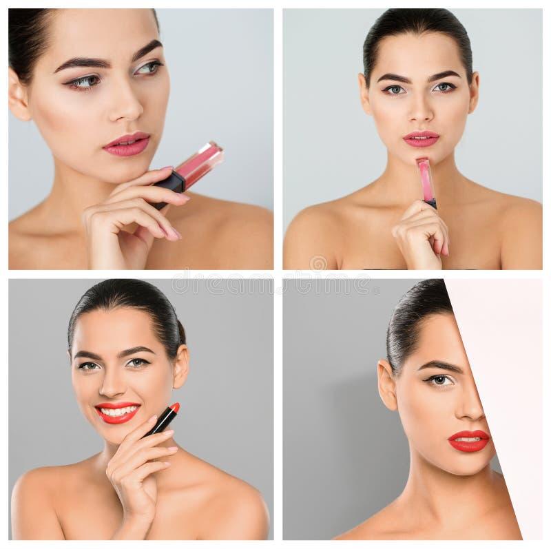 Mujer sensual con diversas barras de labios del color en fondo ligero imagenes de archivo