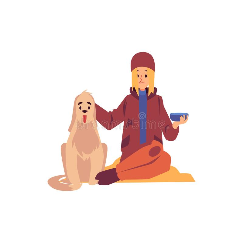 Mujer sin hogar que se sienta con el perro y que lleva a cabo el petición de estilo de la historieta del cuenco libre illustration