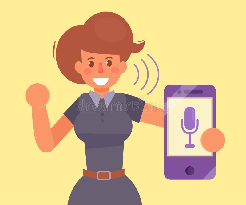 Mujer, smartphone, control por voz stock de ilustración