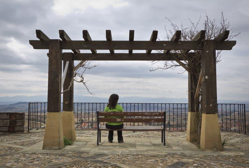 Mujer sola que mira el paisaje imagen de archivo libre de regalías