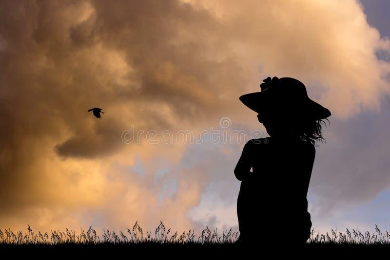 Mujer solitaria que mira la puesta del sol stock de ilustración
