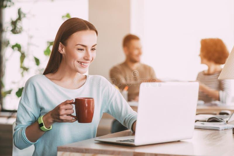 Mujer sonriente agradable que usa el ordenador portátil imagenes de archivo