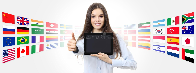 Mujer sonriente de idiomas del concepto internacional de la escuela con th similar fotos de archivo libres de regalías