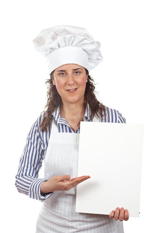 Mujer sonriente del cocinero imagen de archivo libre de regalías