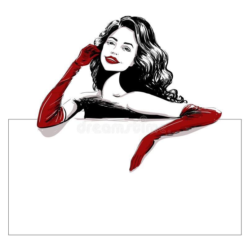 Mujer sonriente en plantilla roja larga de los guantes stock de ilustración