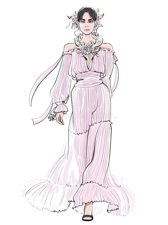 Mujer sonriente en scull rosado de los ciervos del wiyh del vestido de noche Ejemplo de la moda fotos de archivo libres de regalías