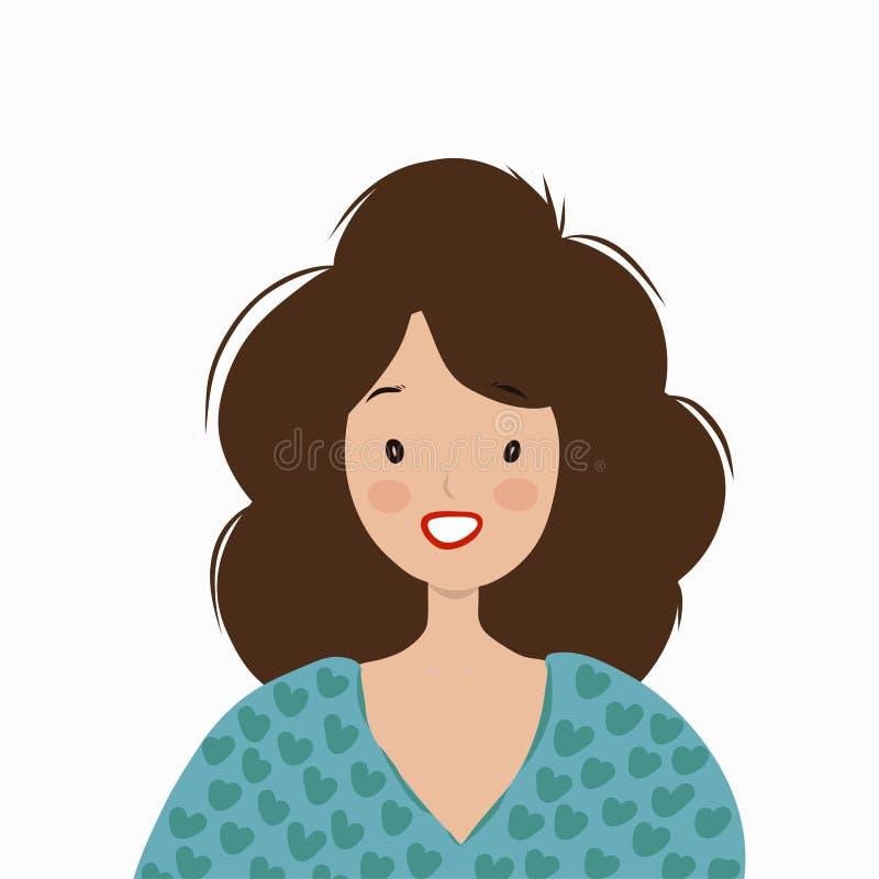 Mujer sonriente en un suéter azul ilustración del vector