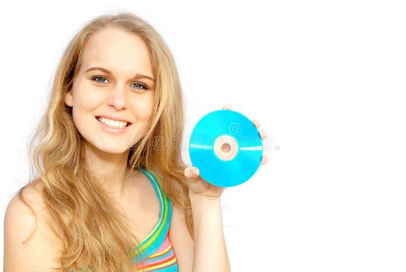 Mujer sonriente feliz, disco CD fotografía de archivo