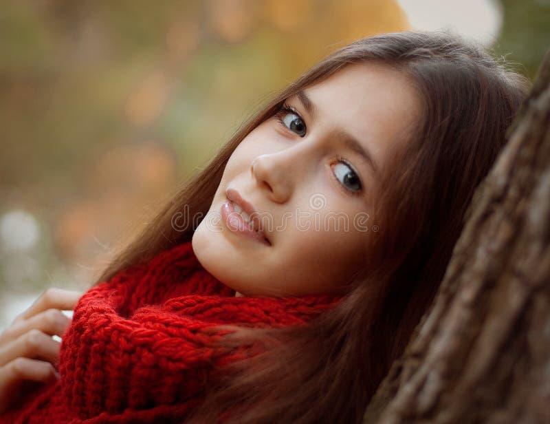Mujer sonriente joven en parque del otoño imagenes de archivo