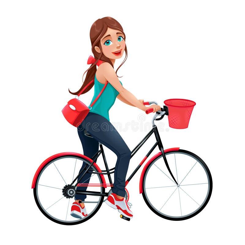 Mujer sonriente joven en una bicicleta libre illustration