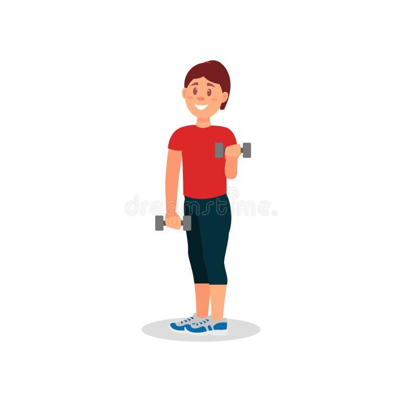 Mujer sonriente que hace ejercicio con pesas de gimnasia Chica joven en ropa de deportes Entrenamiento activo en gimnasio Diseño  ilustración del vector