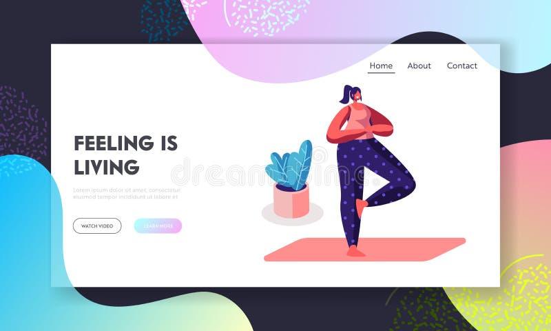 Mujer sonriente que hace la yoga Asana que se coloca en un pie con las manos comunes en pecho en actitud del ?rbol Forma de vida  stock de ilustración