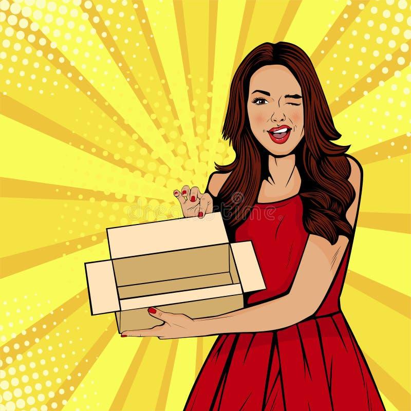 Mujer sorprendida atractiva joven que sostiene la caja vacía Vector el ejemplo en estilo cómico retro del arte pop libre illustration