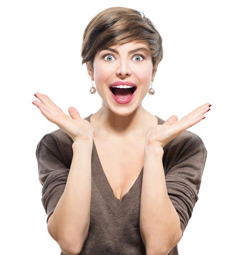 Mujer sorprendida Belleza emocionada joven imagenes de archivo
