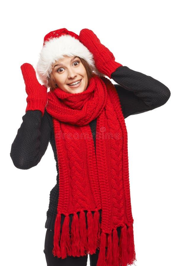 Mujer sorprendida de Navidad foto de archivo