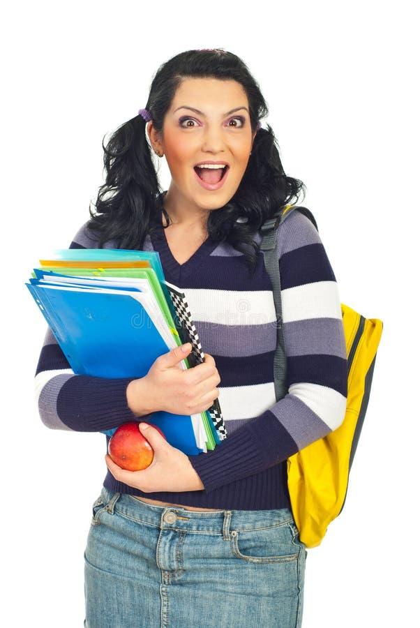 Mujer sorprendida feliz del estudiante imagen de archivo