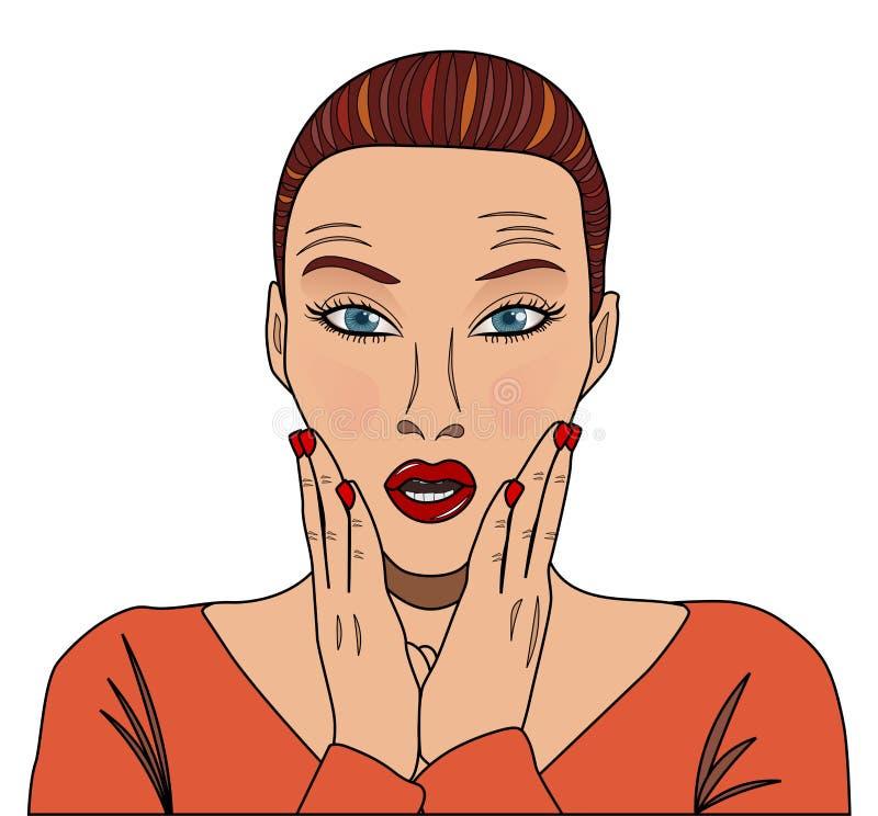 Mujer sorprendida joven de los tebeos stock de ilustración