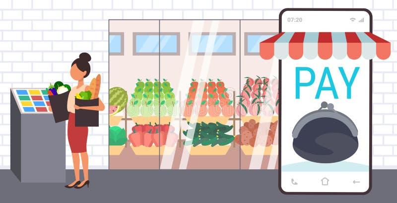Mujer sosteniendo bolsas de compras ama de casa usando una aplicación móvil para smartphones para comprar en la caja registradora ilustración del vector