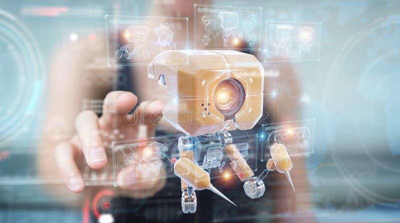 Mujer sosteniendo y tocando nanorobot futurista con análisis de gráficos 3D imagen de archivo libre de regalías